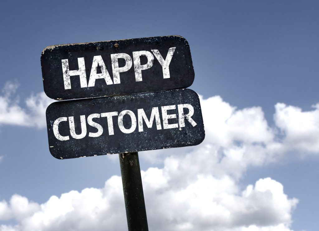 happy customer sign